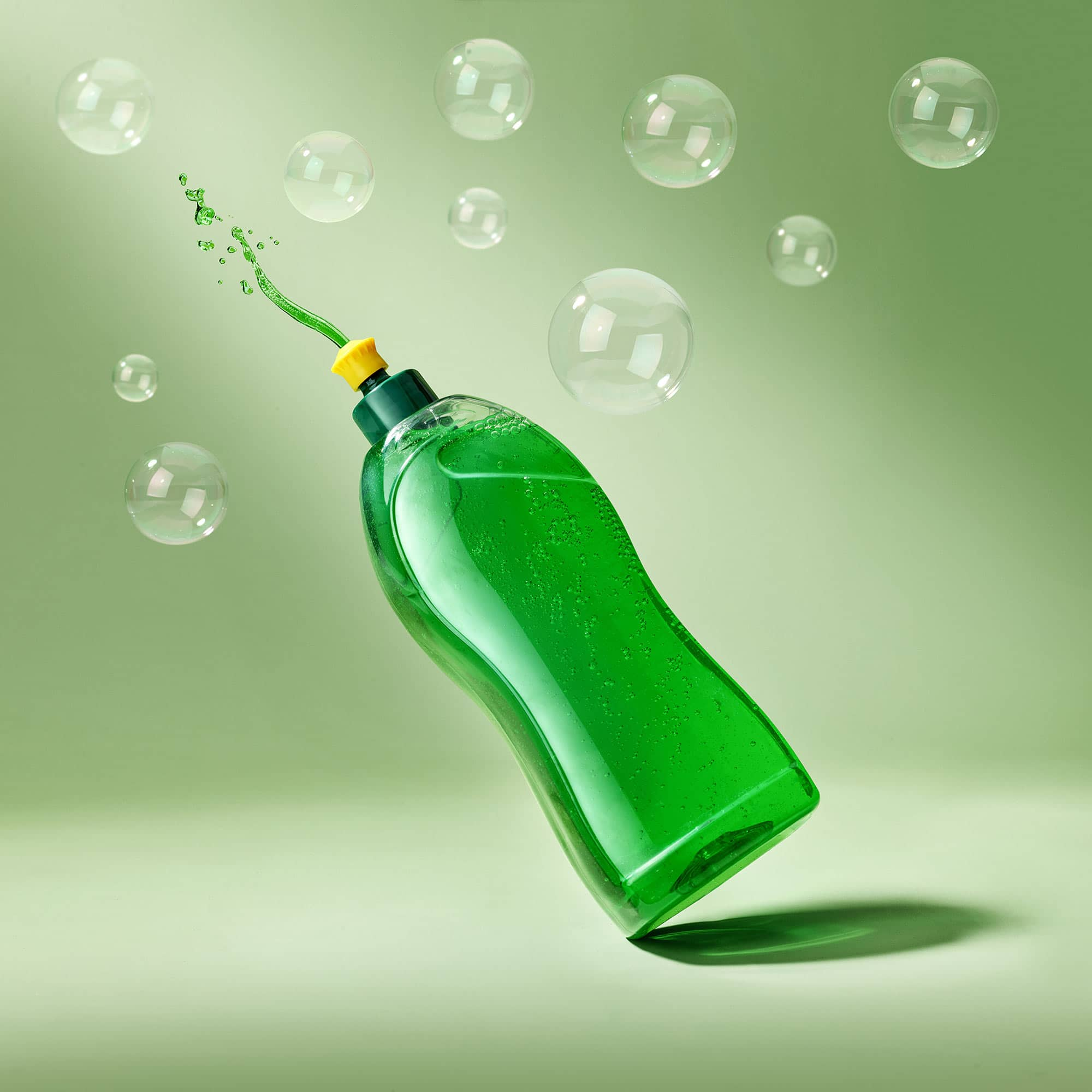 Green Dish Soap Bubbles Still Life Shot for Corepla by Fotografando