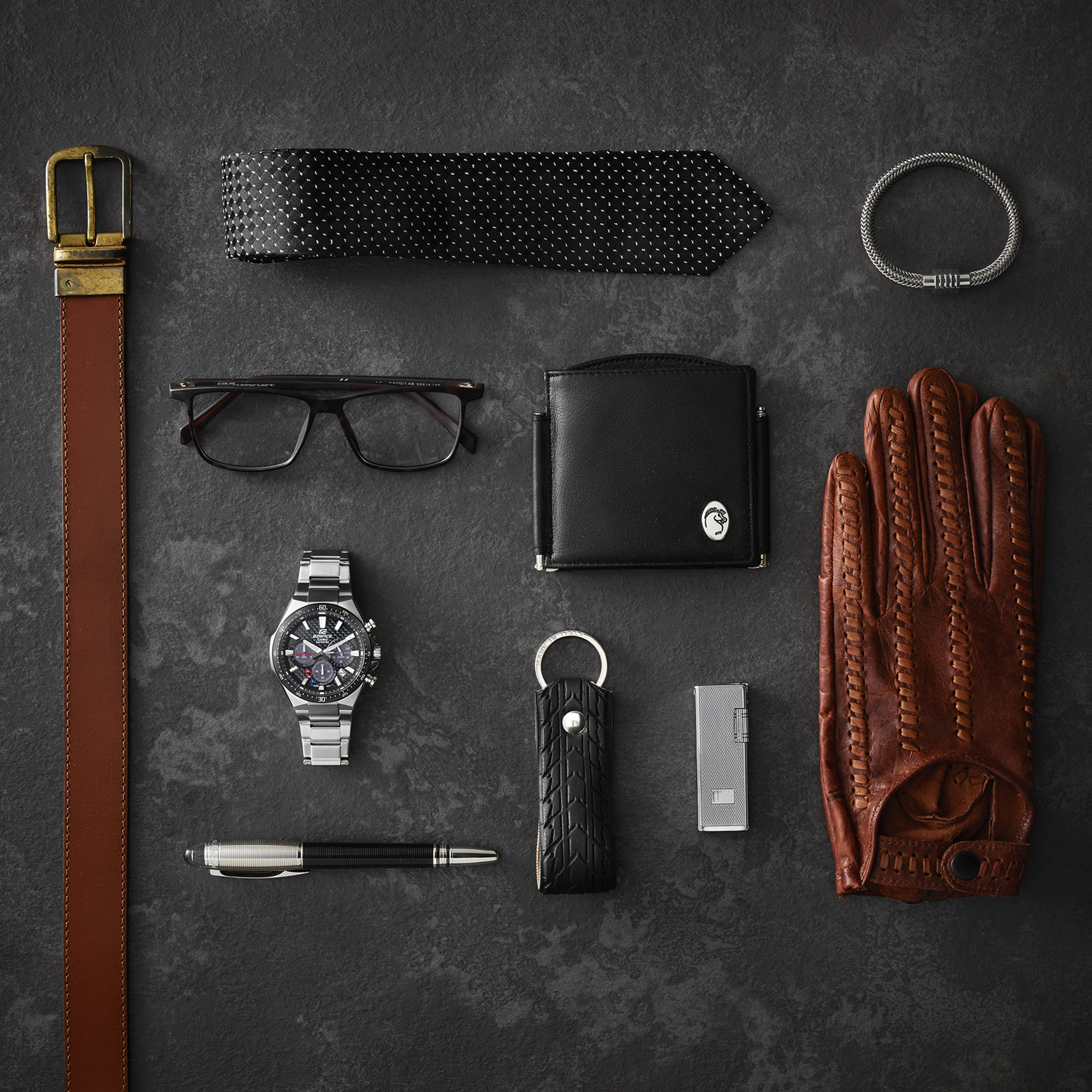 Man Tie Belt Glasses Pen Glove Still Life Shot for Casio by Fotografando