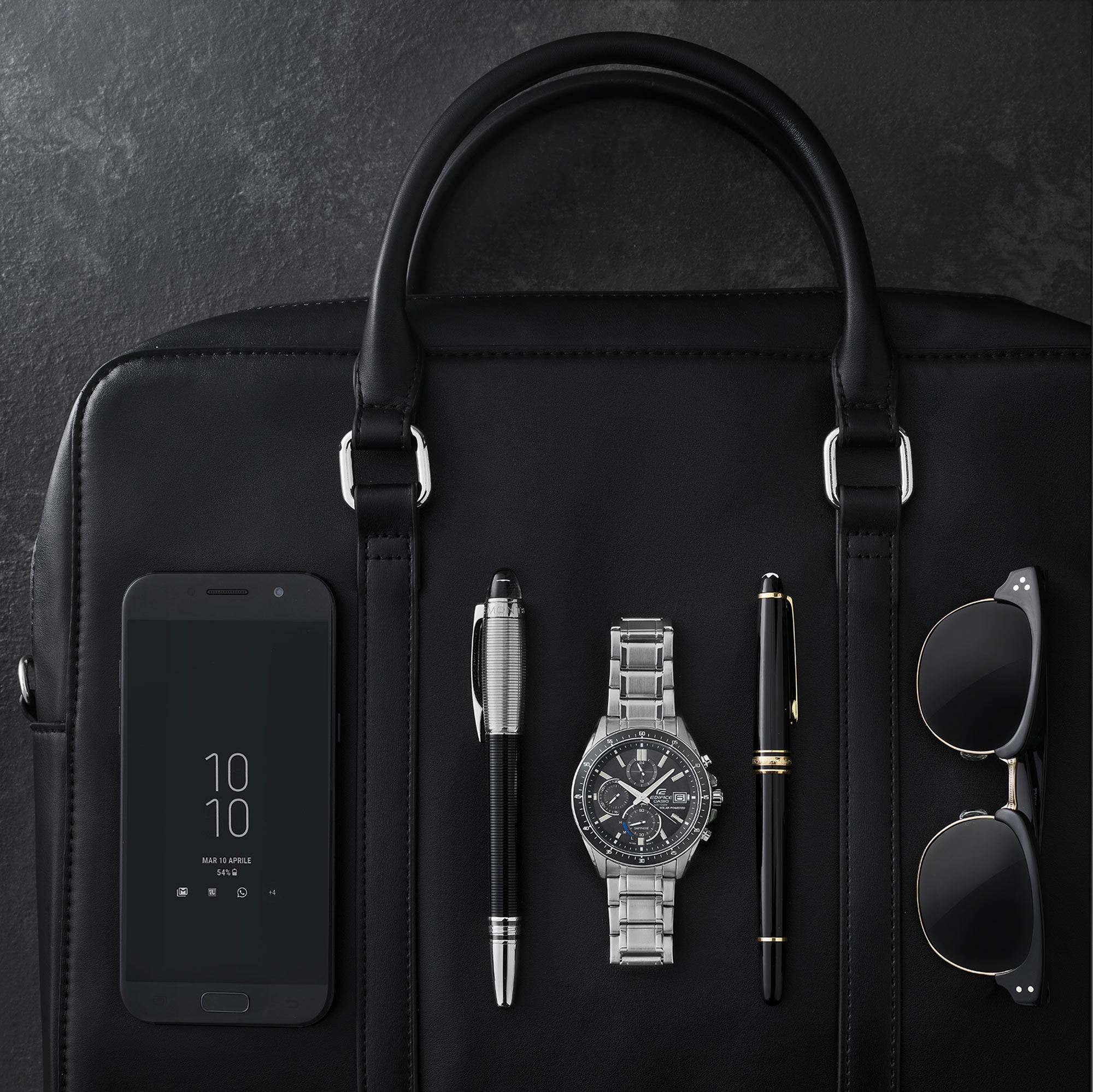 Man Smartphone Mobile Phone Pen Bag Glasses Still Life Shot for Casio by Fotografando