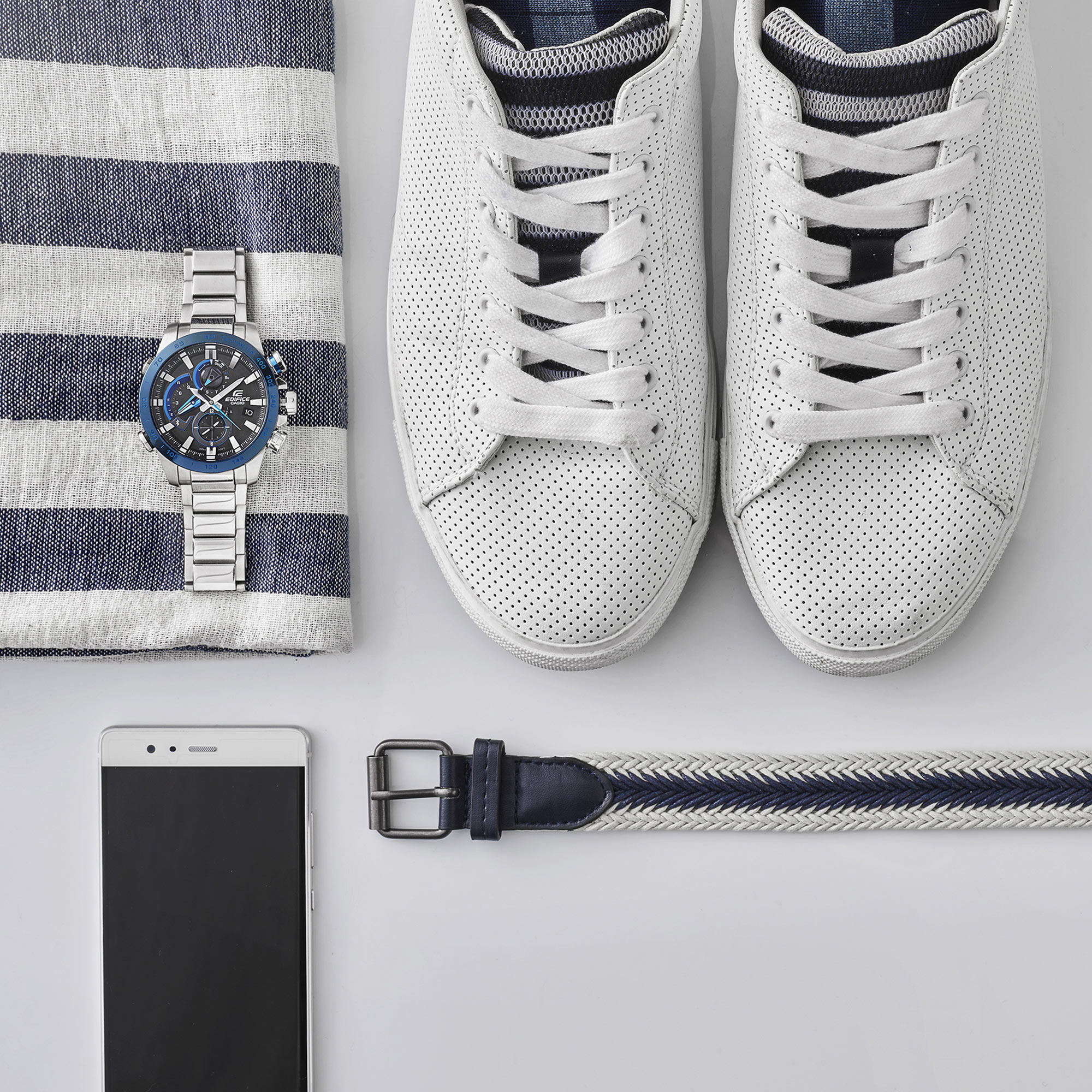 Man White Shoes Belt Smartphone Still Life Shot for Casio by Fotografando