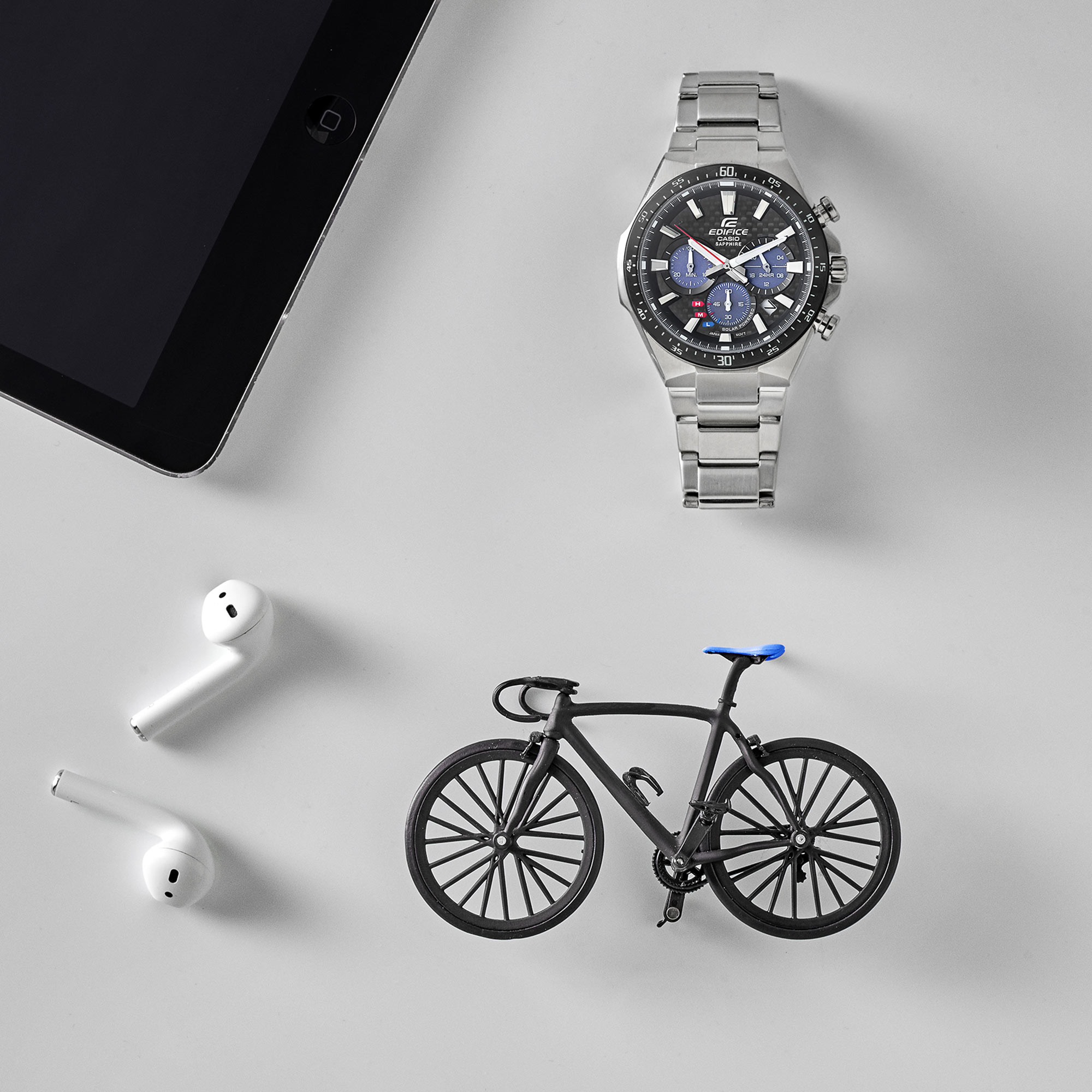 Man Ipad Bike Headphones Airpods Bicycle Still Life Shot for Casio by Fotografando